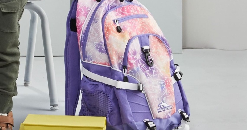 purple and pink print backpack on floor by school desk