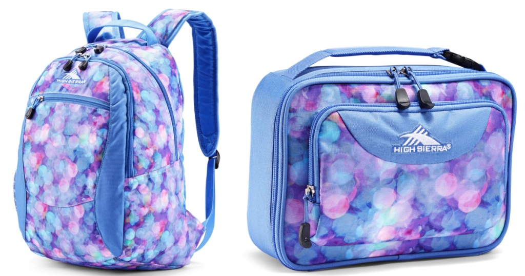 High Sierra Purple Dotted backpack and matching lunch box