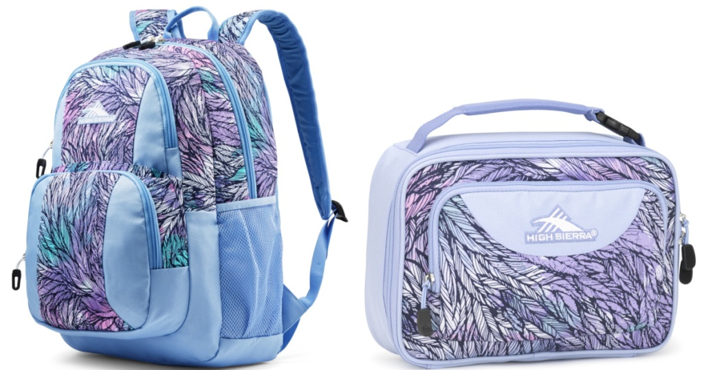 purple/blue backpack and matching lunch box sitting side by side