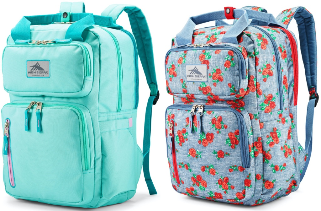 turquoise backpack and blue rose print backpack