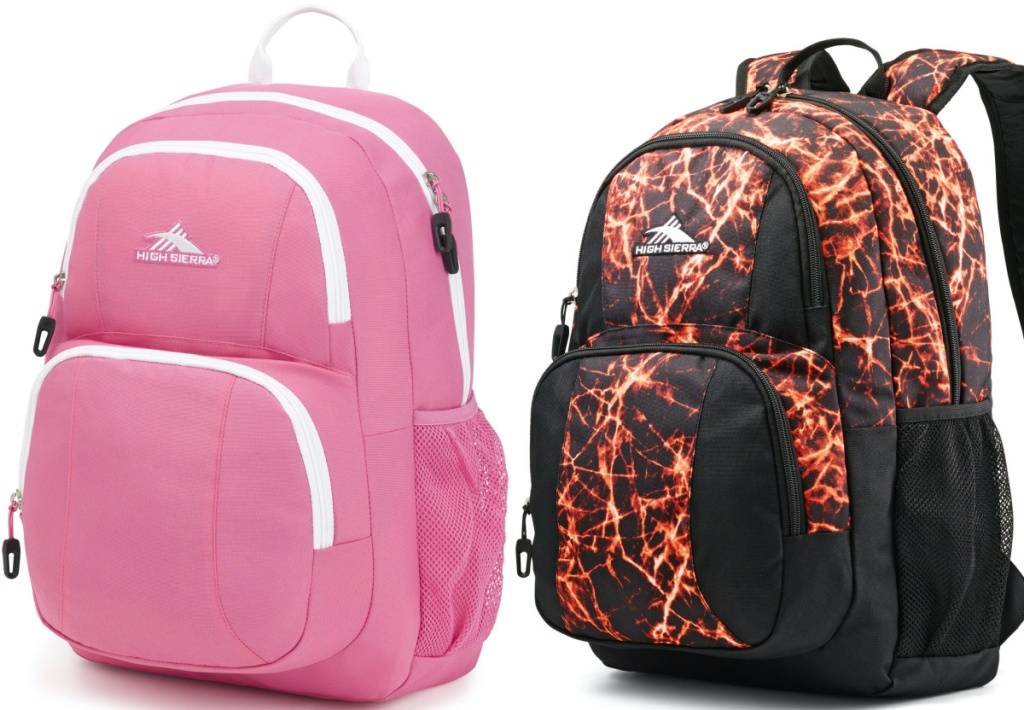 pink and white backpack and black and fire print backpack
