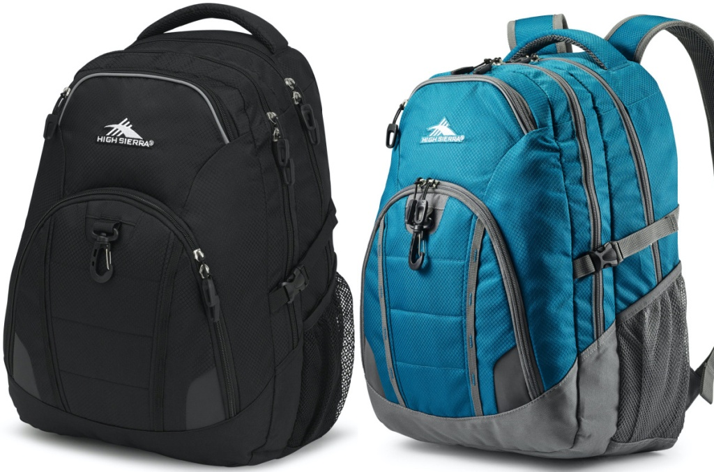 black backpack and blue and gray backpack