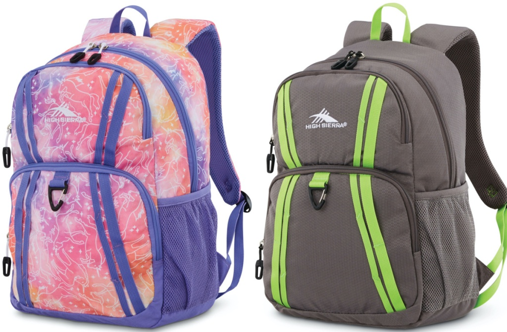 purple and pink print backpack and gray and green backpack