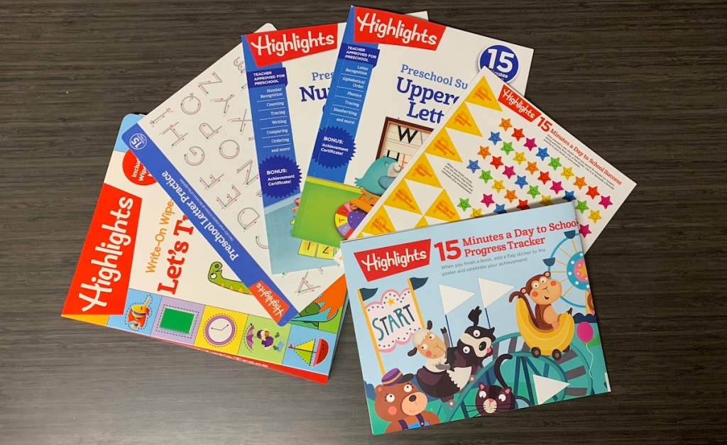 group of Highlights learning workbooks