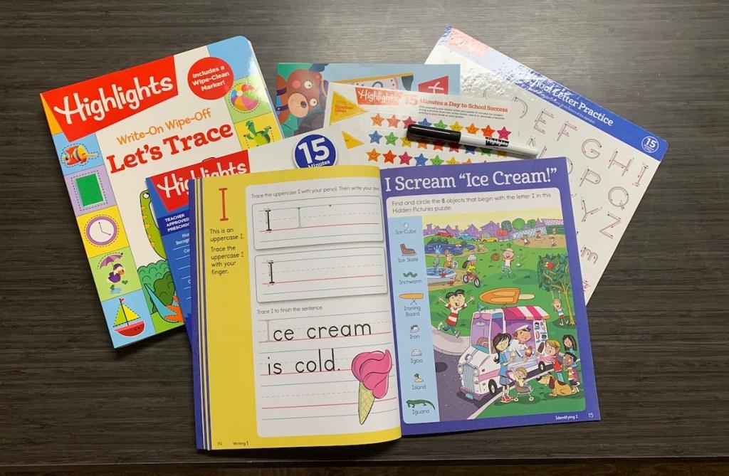 stack of Highlights workbooks
