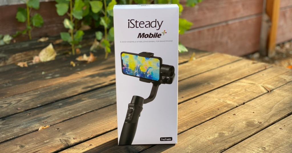 iSteady Mobile camera stabilizer box on deck outside