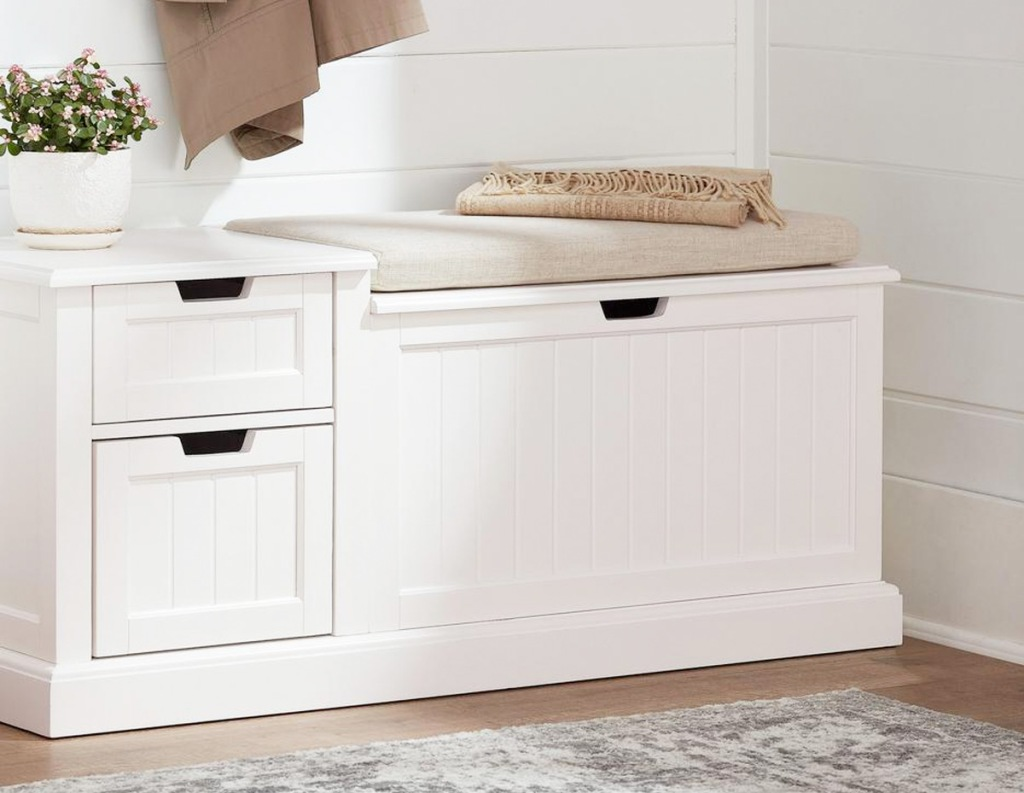 white entryway storage bench with two drawers and seating area with storage below it