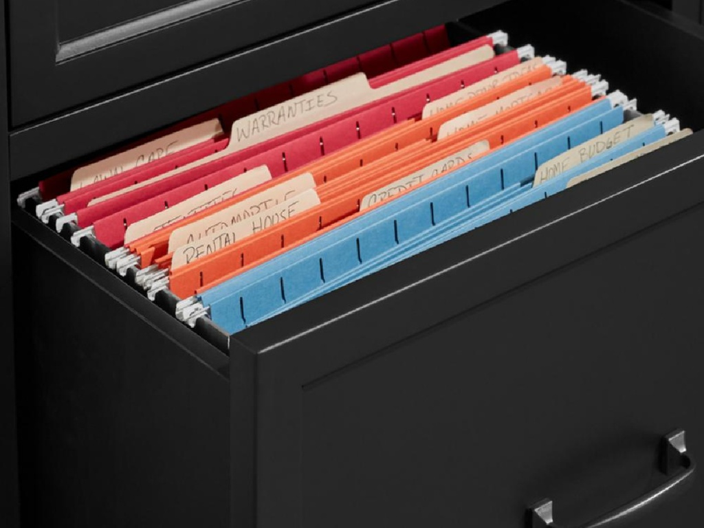 files in drawer of black file console