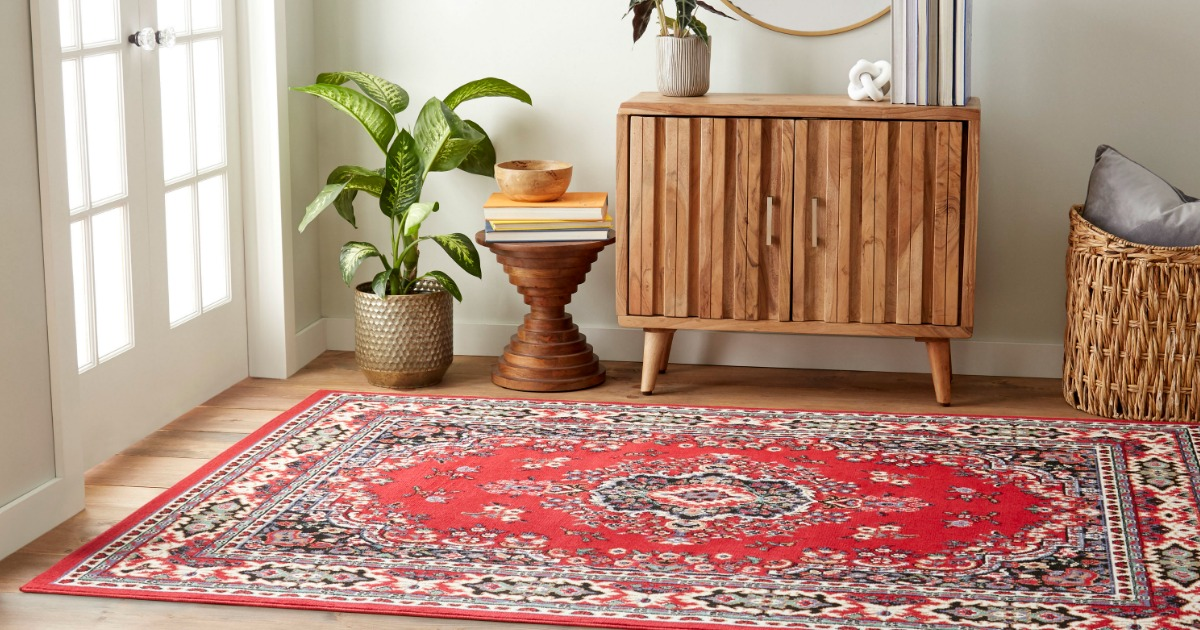Home Dynamic Red Area Rug shown in den
