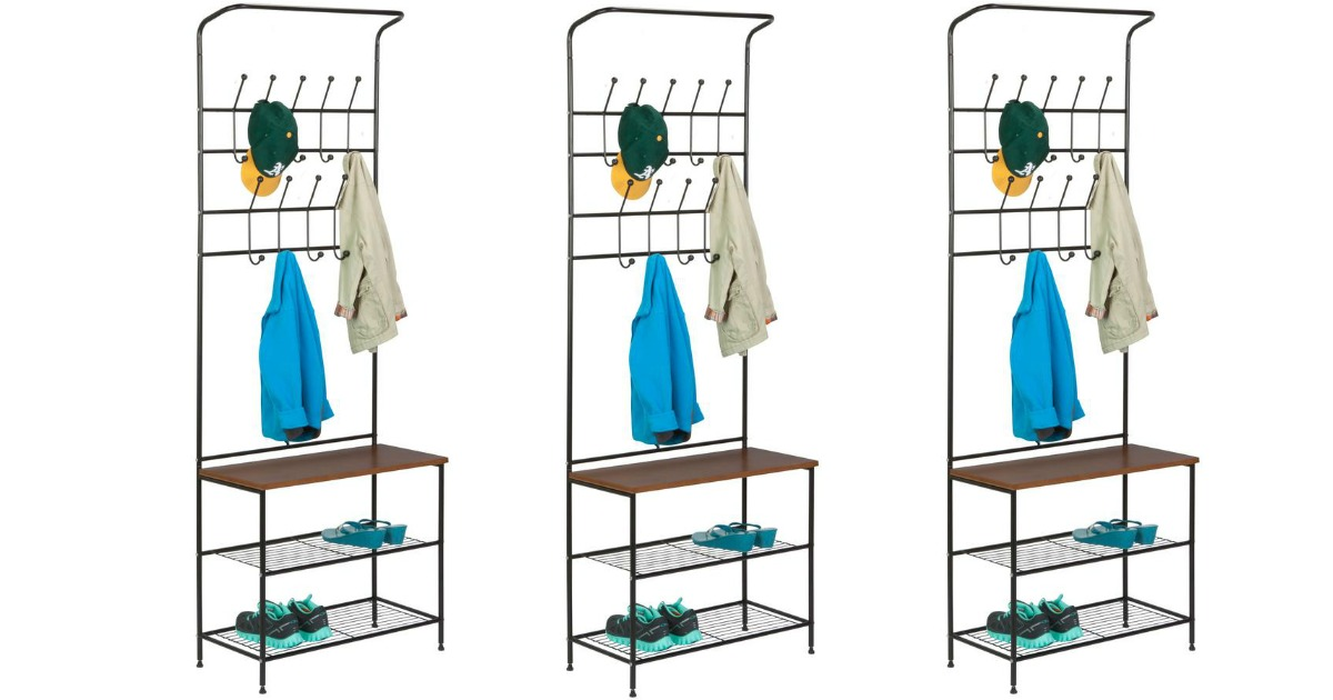 Three coat racks with extra shelving