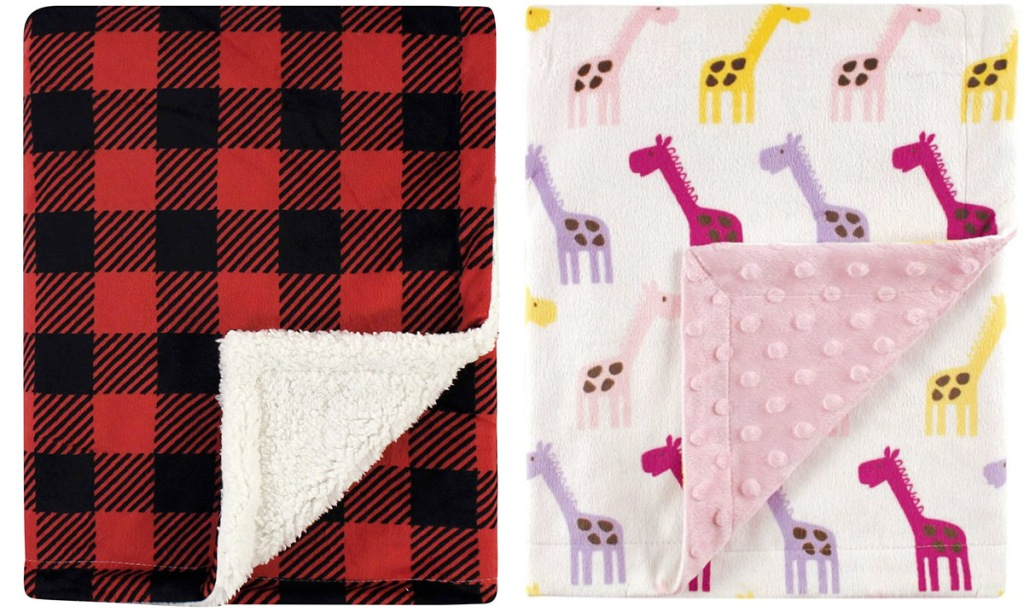black and red buffalo plaid baby blanket and pink and purple giraffes print mink baby blanket