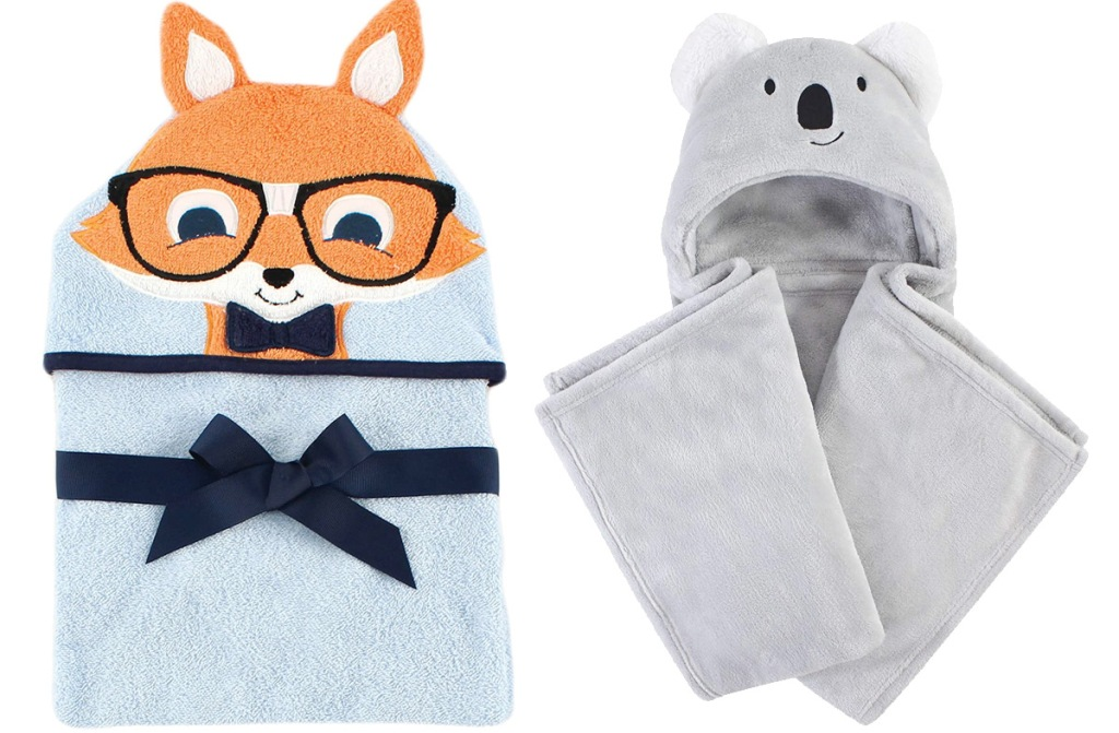 baby hooded towel with fox wearing glasses on hood and grey koala baby hooded blanket