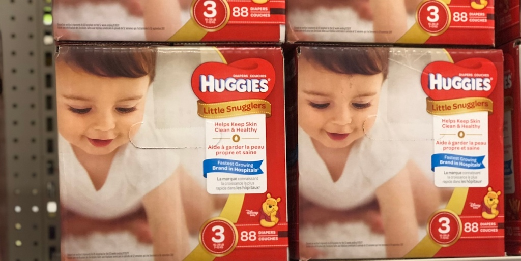 two boxes of Huggies diapers on shelf at Target