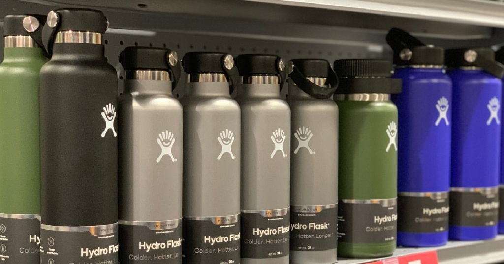 various colored insulated water bottles on store shelf