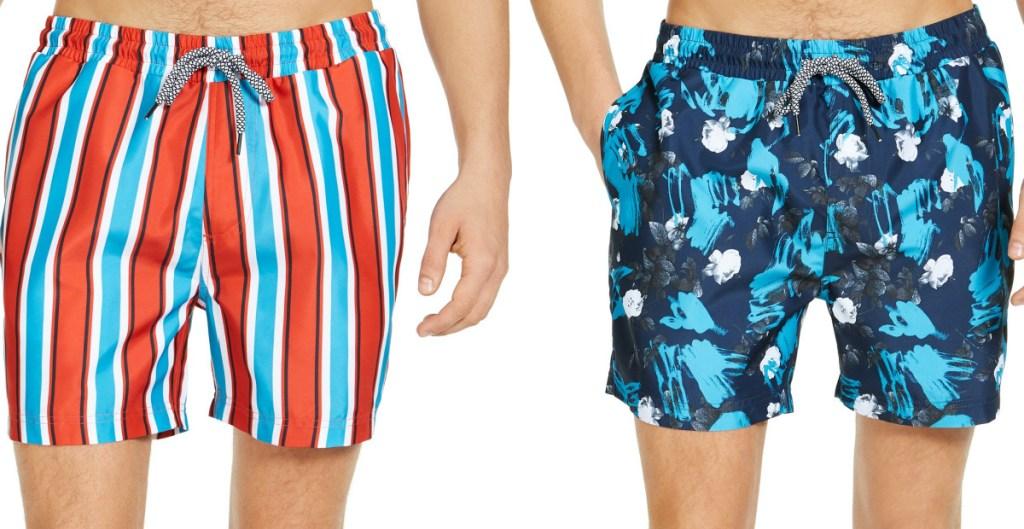 man in blue, orange, and white striped swim trunks and man in blue floral swim trunks