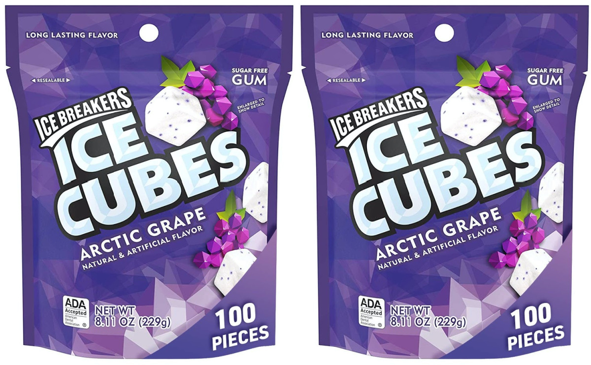 two bags of grape gum cubes