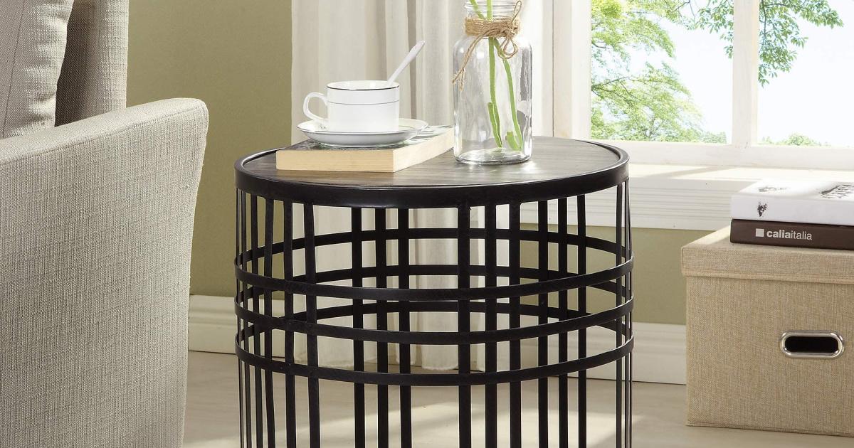 Metal & Wood Industrial End Table