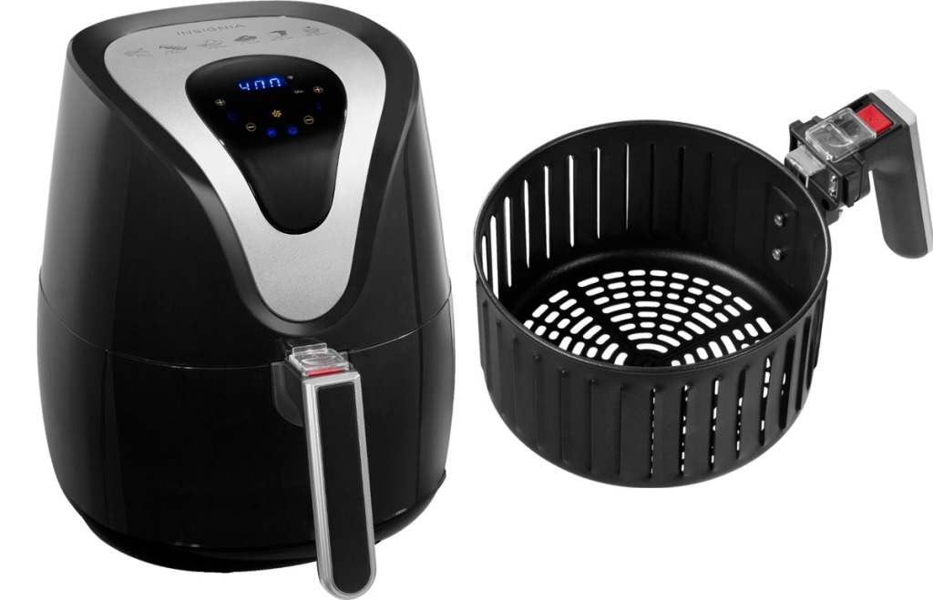 black and silver digital air fryer with round air frying basket next to it
