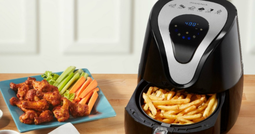 air fryer and plate of fried foods