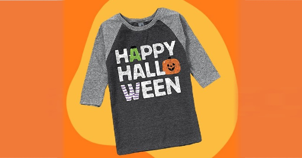 "kids ""Happy Halloween"" graphic tee with two-toned orange background"