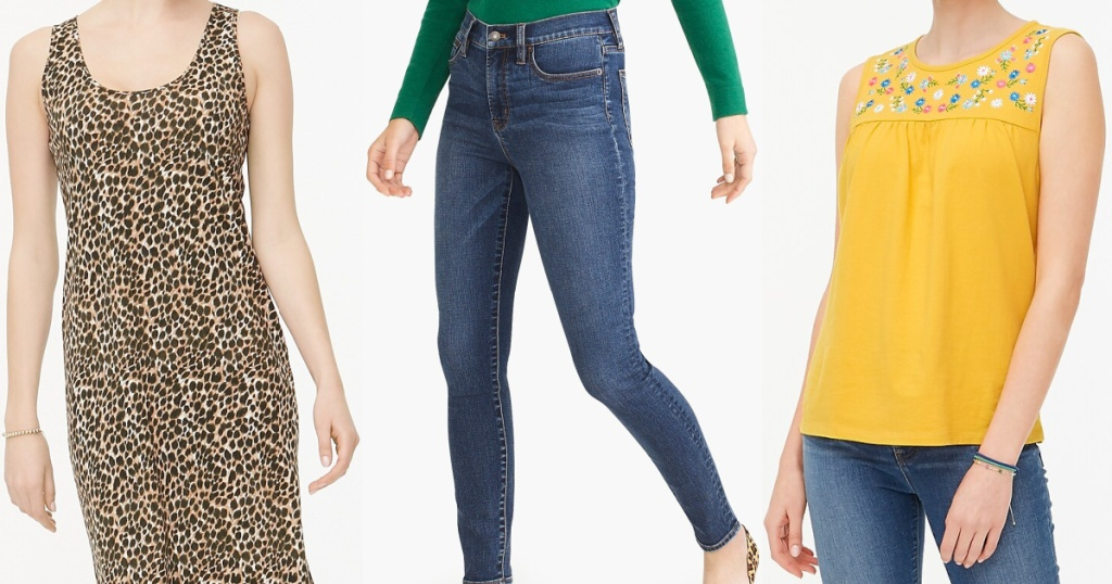 woman in brown animal print dress, woman in jeans, and woman in yellow tank