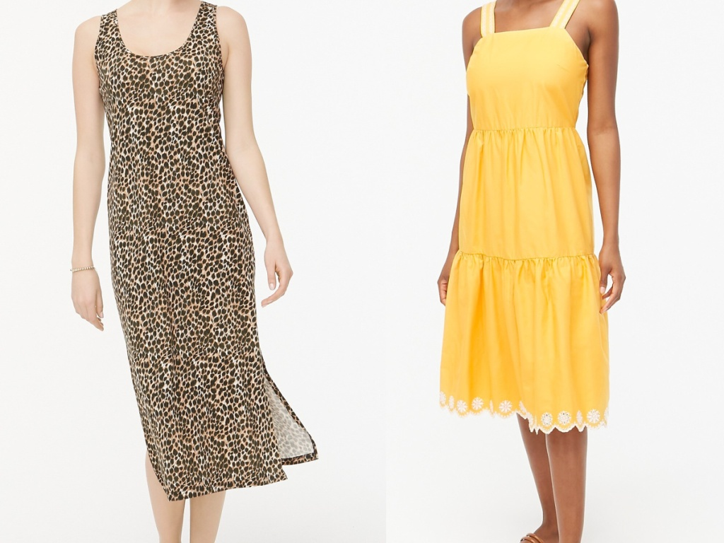 woman in brown animal print dress and woman in yellow dress