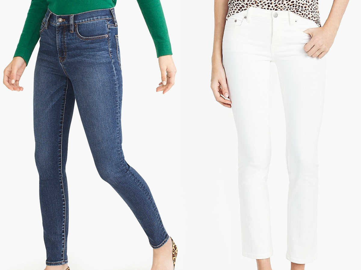 woman in blue jeans and woman in white jeans