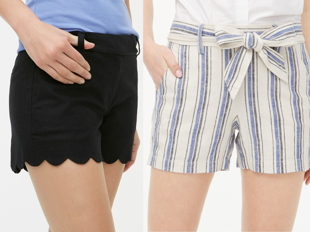 woman in black shorts and woman in blue, gray, and cream striped shorts
