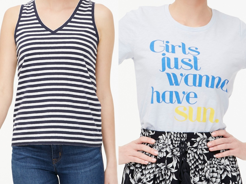 woman in black and white striped tank and woman in light blue graphic tee