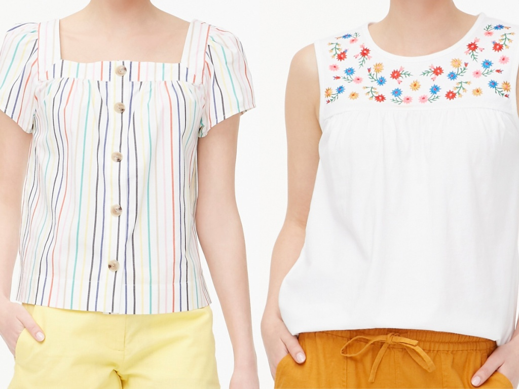 woman in white multi-color top and woman in white tank with multi-color design on top