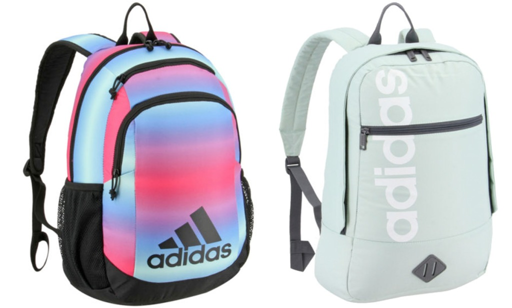 pink, purple, and blue ombre adidas backpack and mini colored backpack that says adidas vertically down front