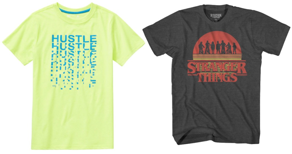bright green graphic tee that says hustle and grey stranger things graphic tee
