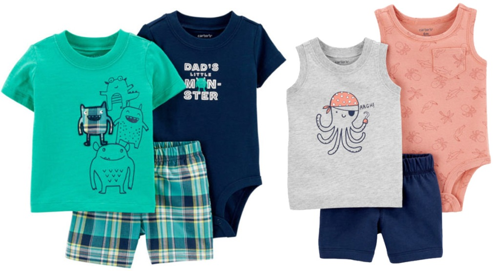 carter's baby boys three piece sets with two tops and coordinating pair of shorts