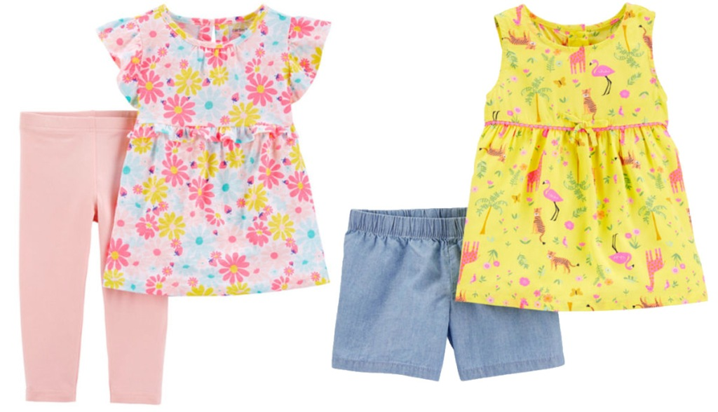 carter's girls two-piece sets with floral print tops and coordinating bottoms