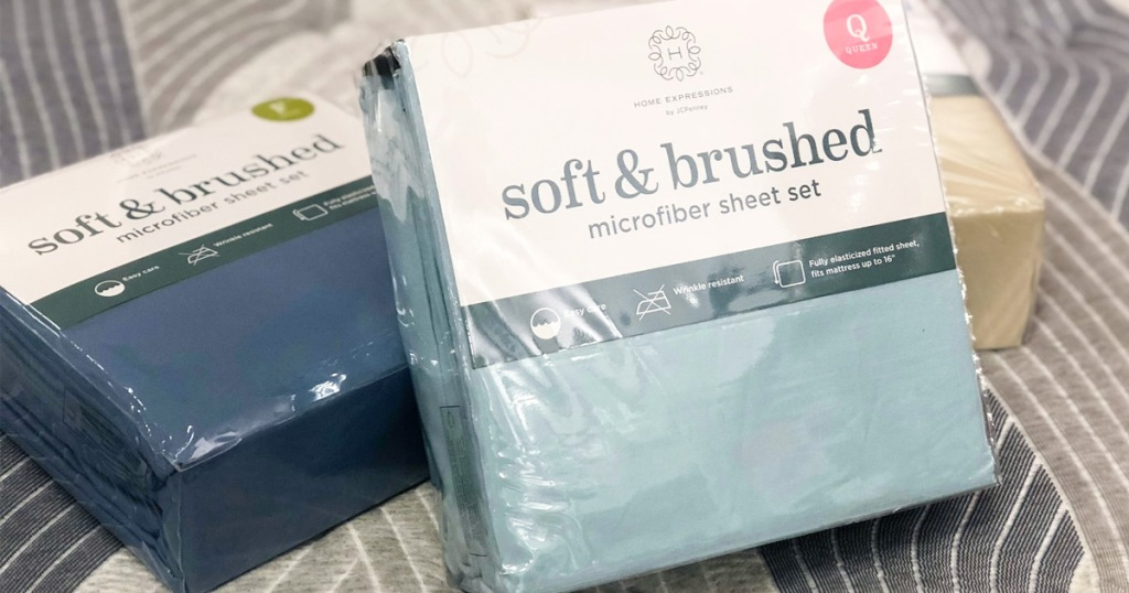 three sets of Hom Expressions microfiber sheet sets on bed