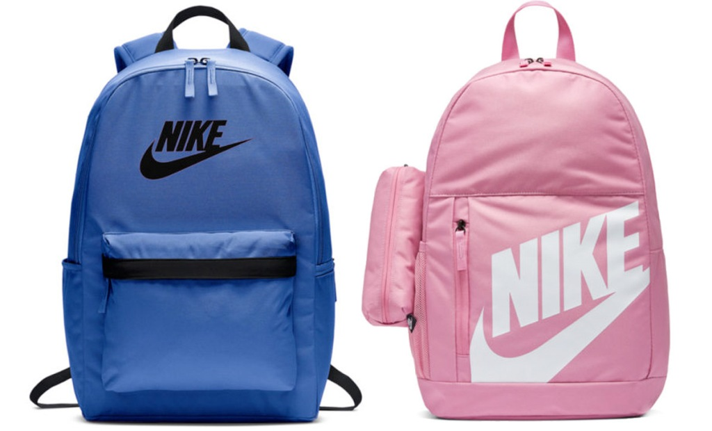blue backpack with black nike logo on front and pink backpack with white nike logo on front