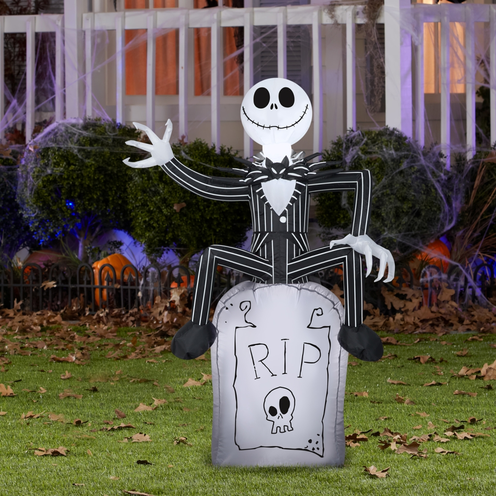 Jack Skellington on Gravestone shown in Halloween-decorated yard