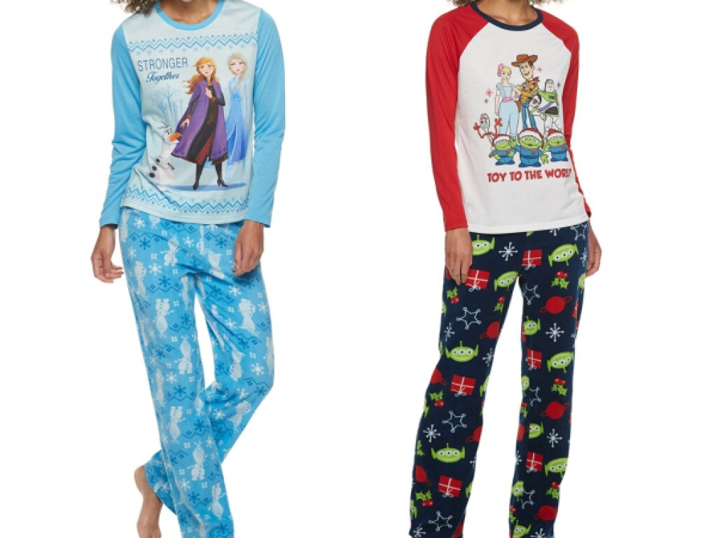 stock images of people in christmas and disney PJs