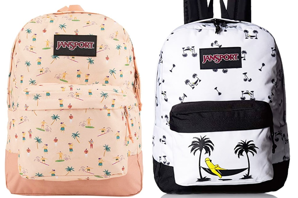 two jansport backpacks in print with beach and surfer print and black and white with banana laying in hammock