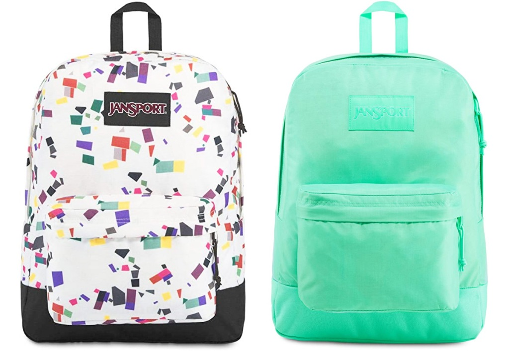 two jansport backpacks in white with multi-color geometric print and solid mint green
