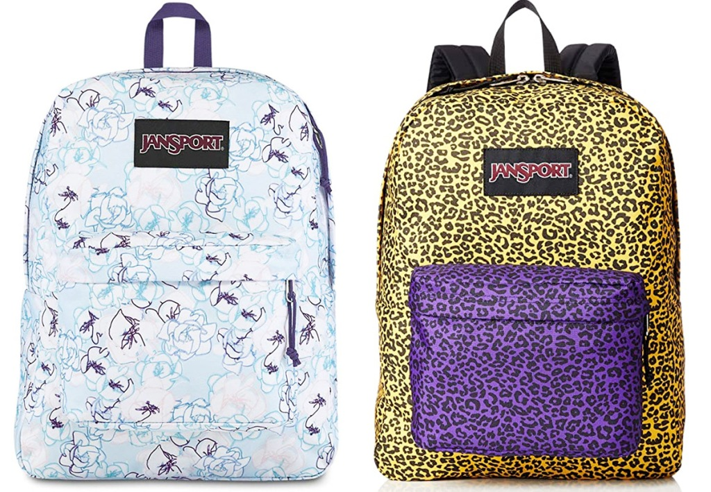 two jansport backpacks in white with blue floral print and yellow leopard print with purple leopard print front pocket