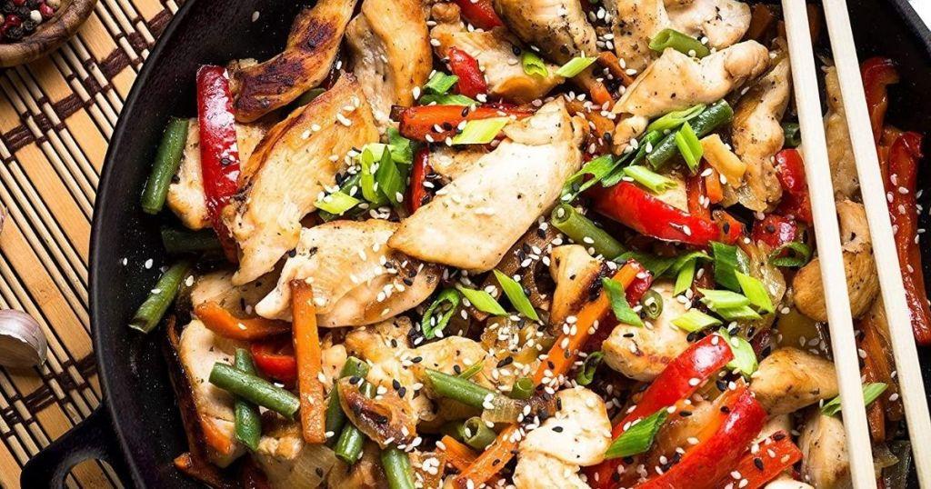Wok of stir fry chicken