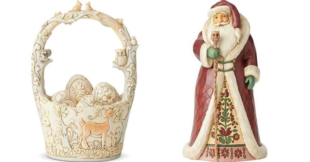 Jim Shore Basket and Santa figures