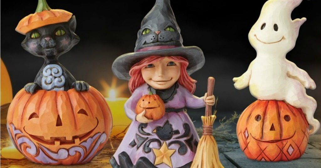 Halloween cat, witch and ghost figures