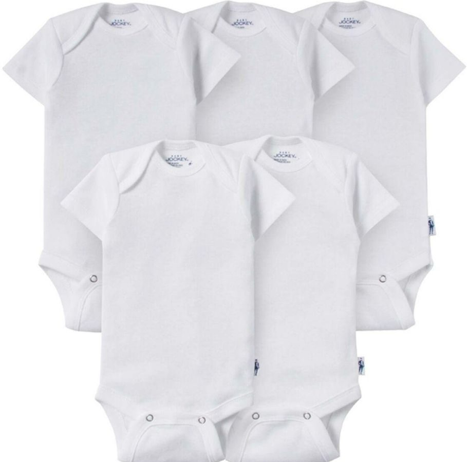 5-pack of bodysuits for a baby