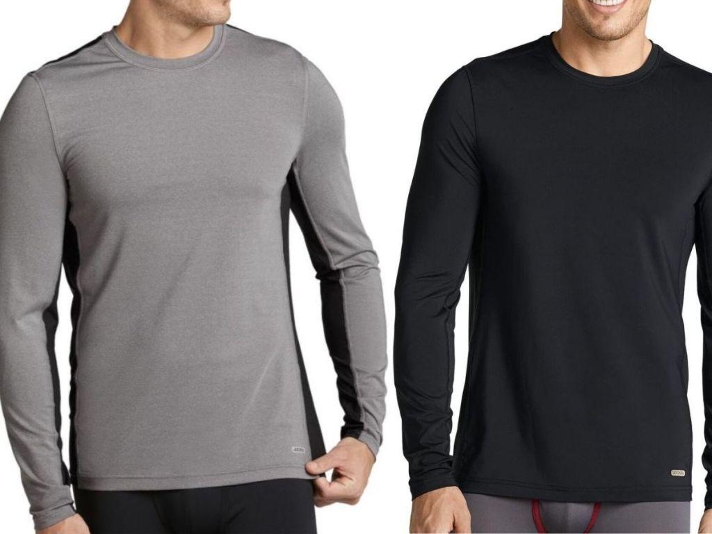 two men wearing long sleeve performance shirts