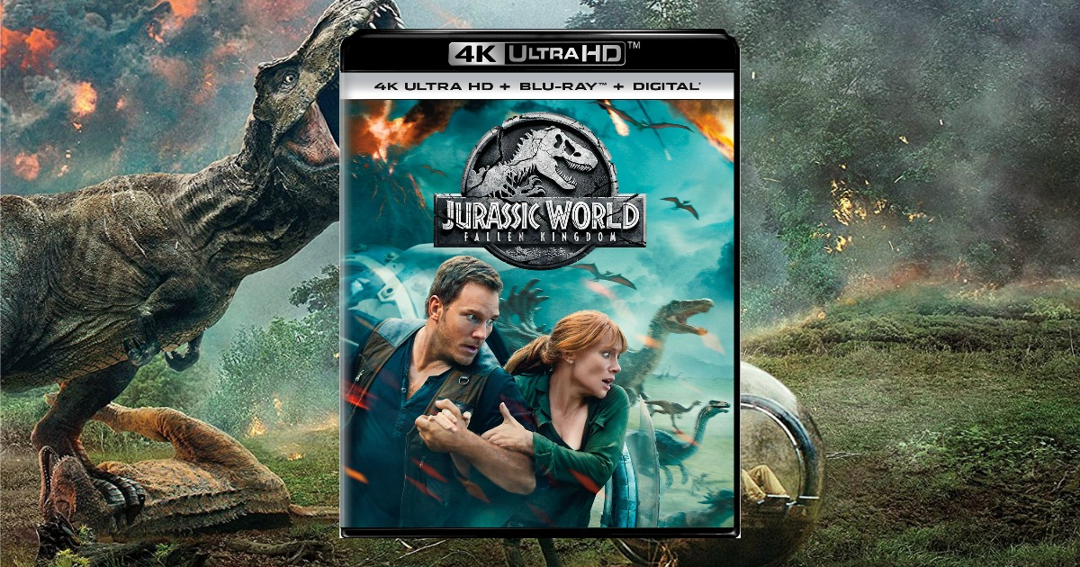 Jurassic World 4k movie box shown on top of still shot