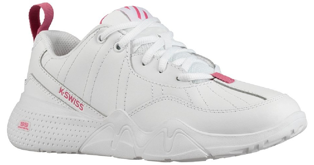 k-swiss women's pink and white classic sneaker