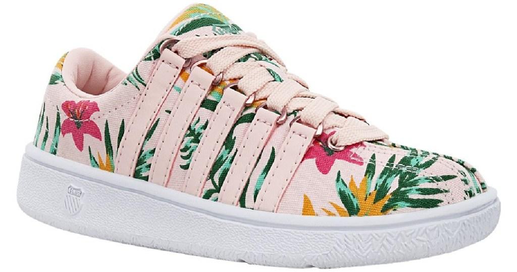 k-swiss kids pink and floral design sneaker