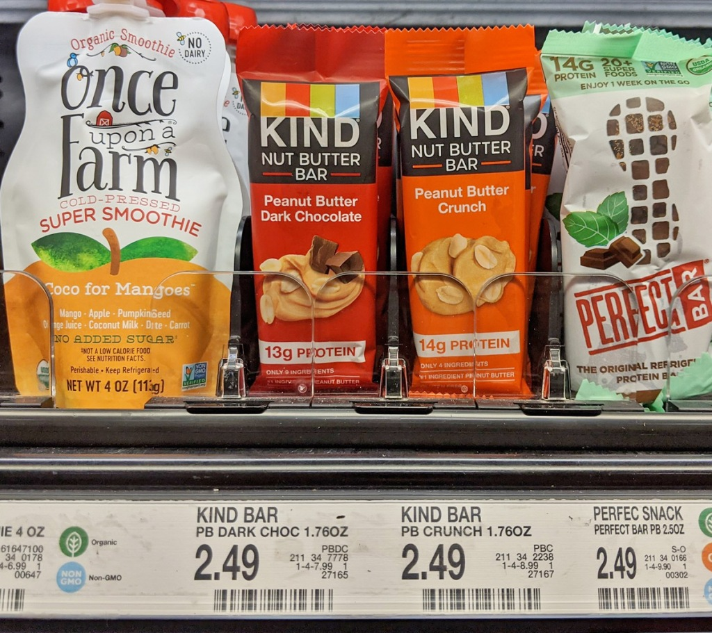 individually wrapped KIND Nut Butter Bars in refrigerated case at Target